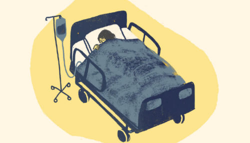 A graphic of a patient lying in a hospital bed, sleeping.