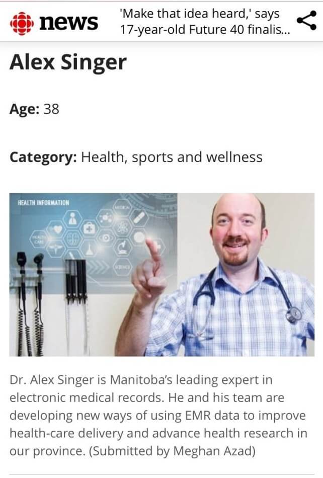 Congratulations to Choosing Wisely Manitoba Clinical Champion Dr. Alex Singer